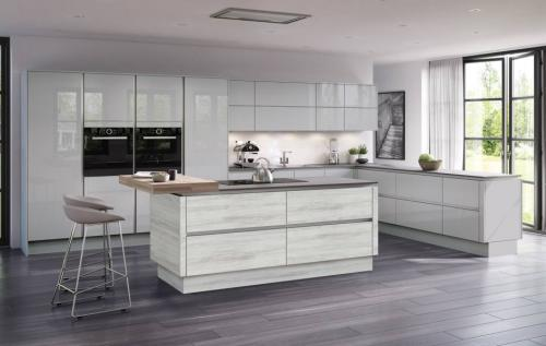 Moderna Image Gloss Grey Mist with Tempo Cascina Pine