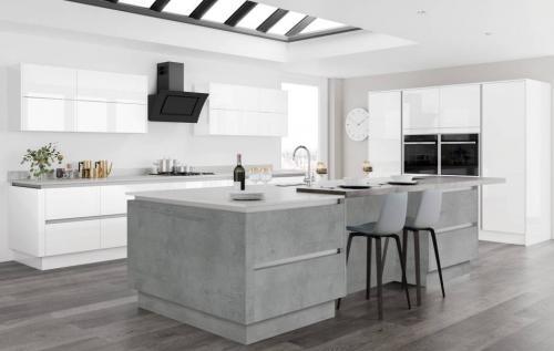 Moderna Image Gloss White with Tempo Boston Concrete