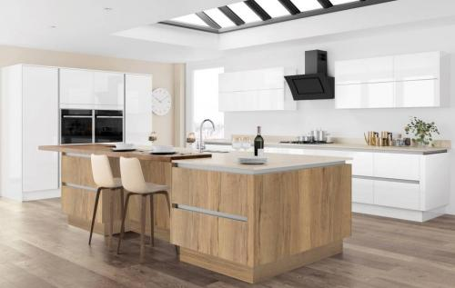 Moderna Image Gloss White with Tempo Halifax Oak